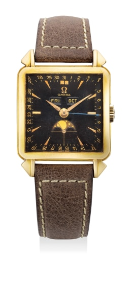 A rare and fine yellow gold square wristwatch with triple calendar, moonphases and black dial