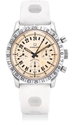 An attractive and very rare stainless steel chronograph wristwatch with 24-hour indication and fitted presentation box.