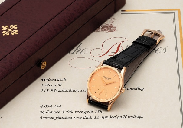 A fine, very elegant and exceptionally well-preserved pink gold wristwatch with pink dial, certificate and box
