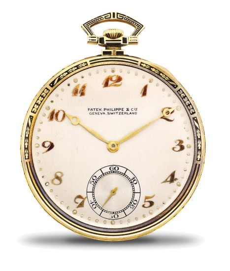 A fine and attractive yellow gold and black enamel openface pocket watch with Breguet numerals, presentation box and certificate of origin.