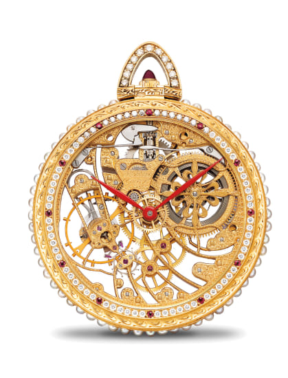 A highly attractive and possibly unique skeletonized yellow gold, pearl, diamond and ruby-set openface pocket watch