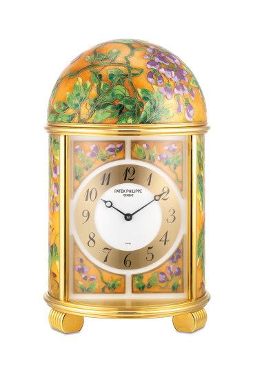 """An extremely fine and unique gilt brass quartz dome clock with polychrome cloisonné enamel scene """"Golden Pheasants"""", with certificate of origin"""
