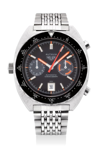 A rare and well-preserved stainless steel chronograph wristwatch with date and bracelet