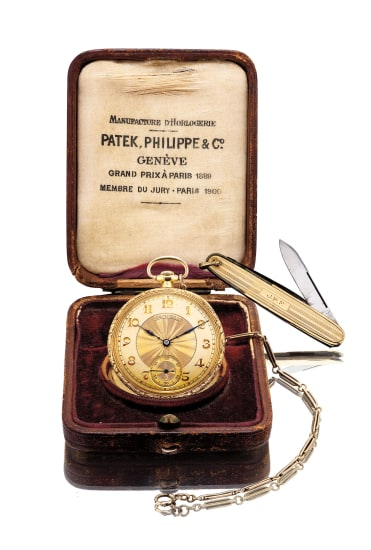 A fine and attractive yellow gold chased and engraved openface pocket watch with watch chain, gold knife and presentation box