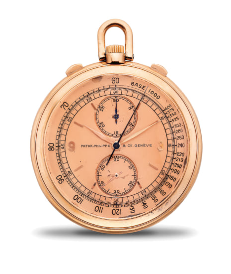 A fine and very rare pink gold openface chronograph pocket watch with pink dial, 30-minute register and tachometer scale