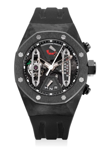 An extremely fine and rare forged carbon and ceramic skeletonized tourbillon chronograph wristwatch with sweep center seconds, 237-Hour power reserve, dynamographe indication, warranty and box