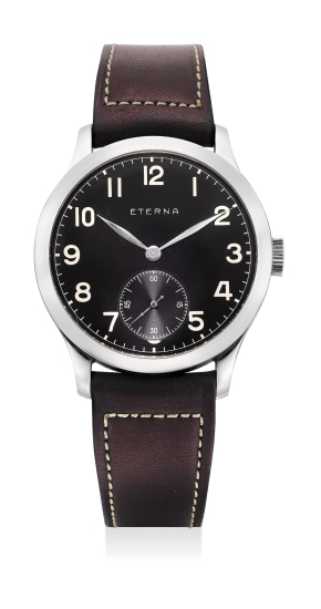 Anattractive stainless steel wristwatch with black dial