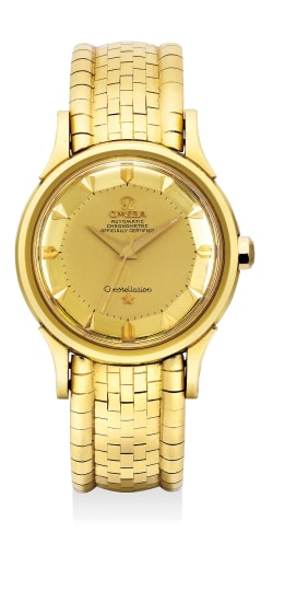 A fine yellow gold wristwatch with center seconds, pie-pan dial and bracelet