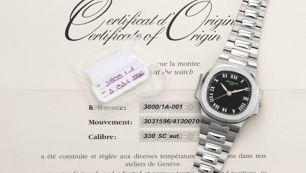 A fine and rare stainless steel wristwatch with center seconds, date, bracelet, original certificate and presentation box