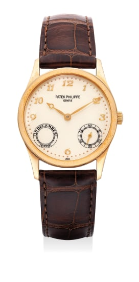 A fine and extremely rare pink gold automatic wristwatch with Breguet numerals. Part of a limited edition of 30 pieces