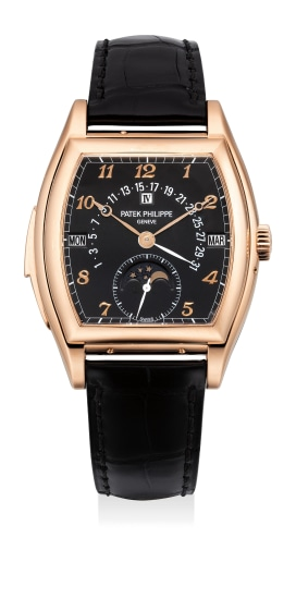 An extremely attractive and rare pink gold tonneau-shaped minute repeating perpetual calendar wristwatch with black dial and Breguet numerals, retrograde date, moon phase, original certificate, presentation box and Tiffany & Co. outer packaging