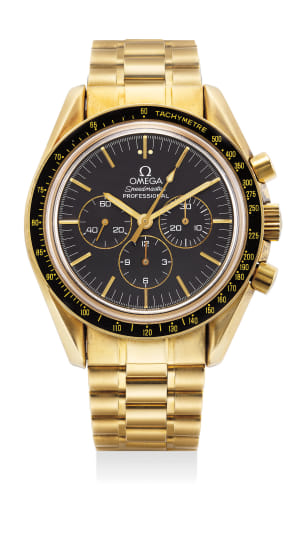 A fine and rare limited edition yellow gold chronograph wristwatch with bracelet, guarantee and box, numbered 772 of a limited edition of 999 pieces