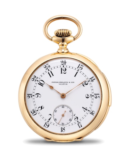 A fine and rare pink gold quarter repeating pocket watch with 24-hour dial