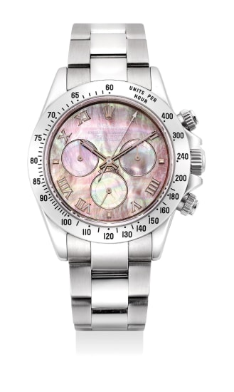 A very fine and attractive stainless steel chronograph wristwatch with mother of pearl and Roman numeral dial, guarantee and fitted presentation box