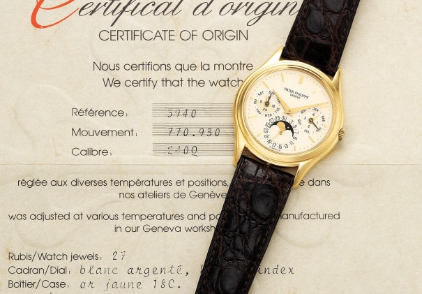 A fine, very rare and early yellow gold perpetual calendar wristwatch with moon phases, 24 hours indication and certificate