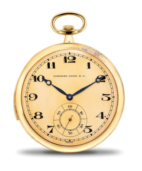 A very rare, very fine and attractive yellow gold ultra thin minute repeating openface pocket watch with extra movement