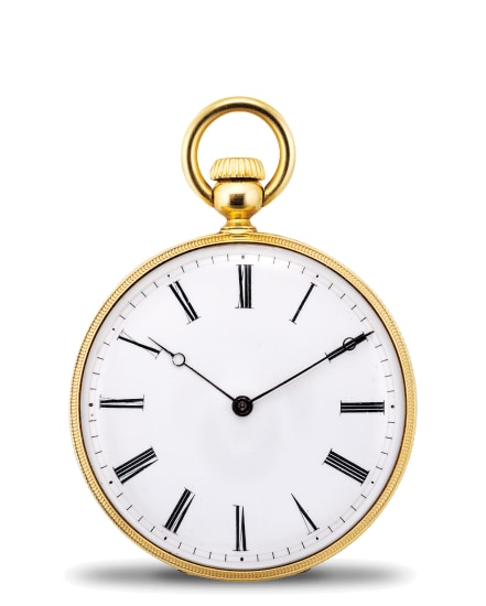 A rare and early yellow gold and black enamel openface pocket watch with Jean Adrian Philippe Winding System