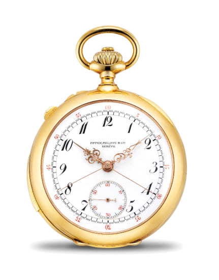 A very fine and rare yellow gold minute repeating openface split-seconds chronograph watch with Breguet numerals and retailed by J. H. Leyson, Butte Montana
