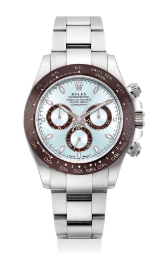 An extremely fine and rare platinum chronograph wristwatch with ice blue dial, bracelet, guarantee and presentation box