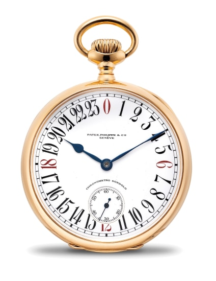 A very rare and unusual pink gold openface pocket watch with 24-hour dial, retailed by Gondolo & Labouriau