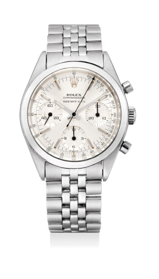 A fine and extremely rare stainless steel chronograph wristwatch with bracelet, retailed by Tiffany & Co.