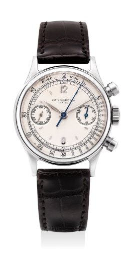 An attractive, early and very rare stainless steel chronograph wristwatch with tachymeter scale