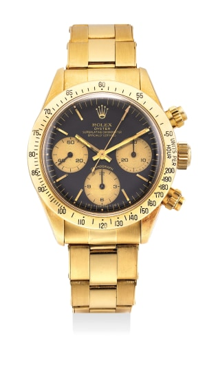 A fine and rare yellow gold chronograph wristwatch with bracelet