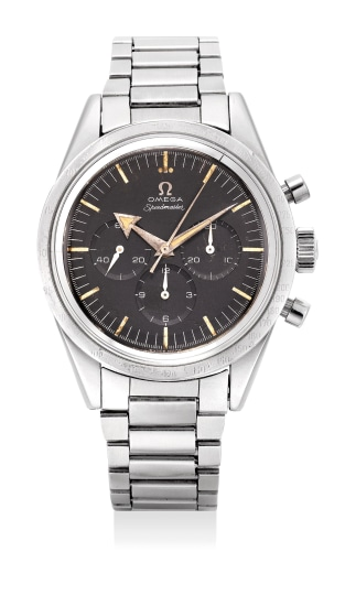 A fine and extremely rare stainless steel chronograph wristwatch with bracelet