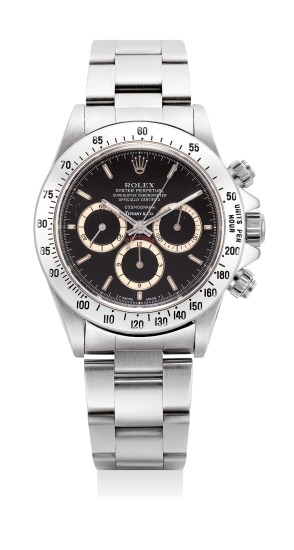 """A fine and very rare stainless steel chronograph wristwatch with """"Floating Cosmograph"""" black dial, bracelet and presentation box, retailed by Tiffany & Co."""