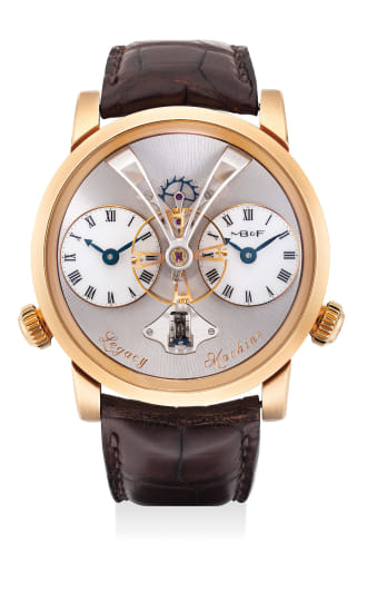 A fine and attractive pink gold three-dimensional dual time wristwatch with flying balance wheel, vertical power reserve indicator, international warranty and fitted presentation box