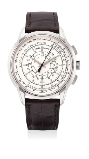 A very fine and rare white gold chronograph wristwatch with multi-scale dial, Certificate, Attestation, medal and box. Part of a 400-pieces limited edition
