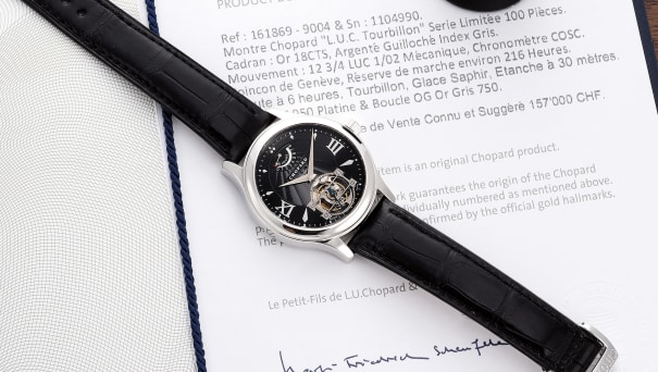A fine and rare platinum wristwatch with tourbillon, 8-Day power reserve indicator, certificate and presentation box, numbered 31 of a limited edition of 100 pieces