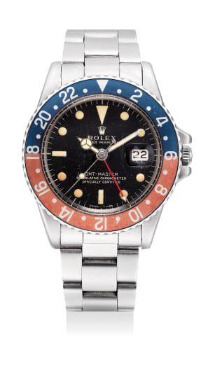 A fine and attractive stainless steel dual-time wristwatch with black lacquer dial, date and bracelet