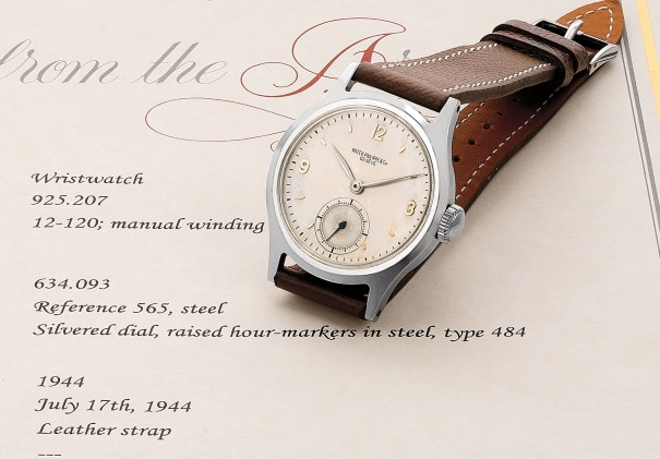 A very fine and rare stainless steel wristwatch with silvered dial and subsidiary seconds