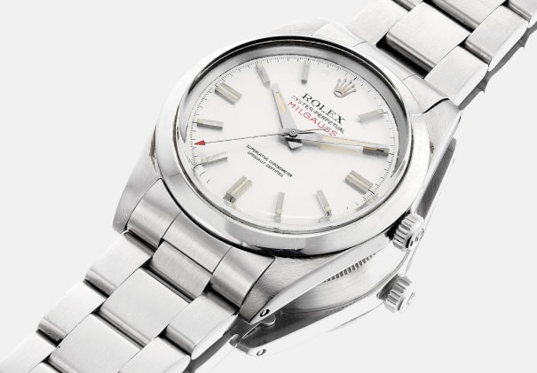A fine and attractive stainless steel wristwatch with bracelet, sweep center seconds, service booklets, service invoice and service warranty