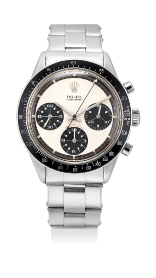 """A fine and very rare stainless steel chronograph wristwatch with """"Paul Newman"""" dial and bracelet"""
