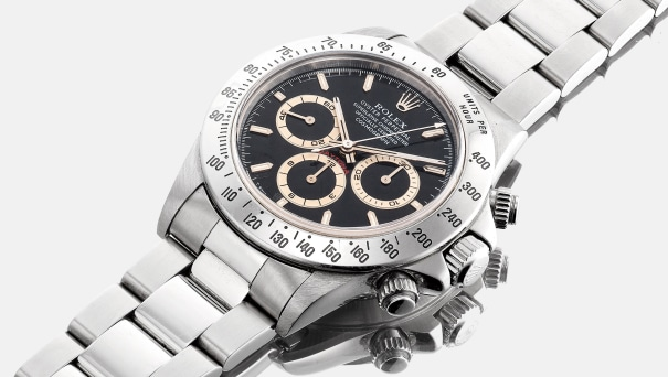 A fine and very rare stainless steel chronograph wristwatch with tropical dial and bracelet