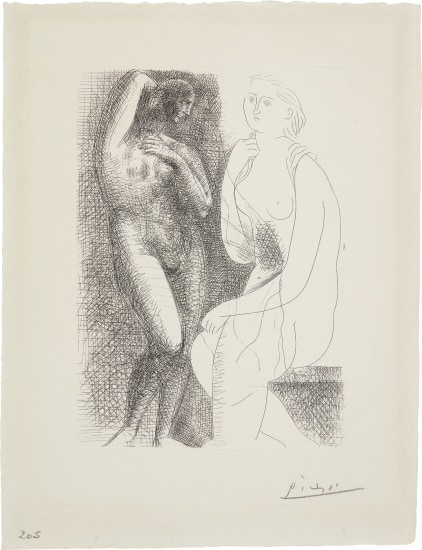 Femme nue devant une statue (Naked Woman in Front of a Statue)