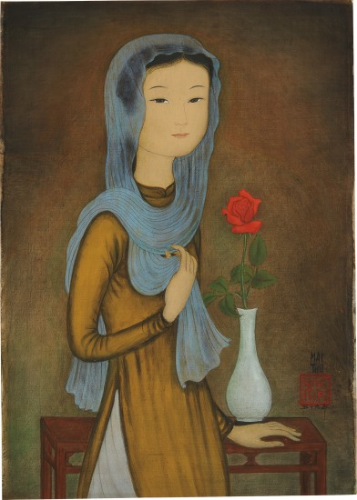 La Rose Rouge (J. femme à l'écharpe) [The Red Rose (Young Lady with Scarf)]