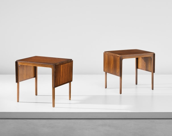 Pair of drop-leaf side tables, designed for the library of the Danish Institute of Science and Art, Rome