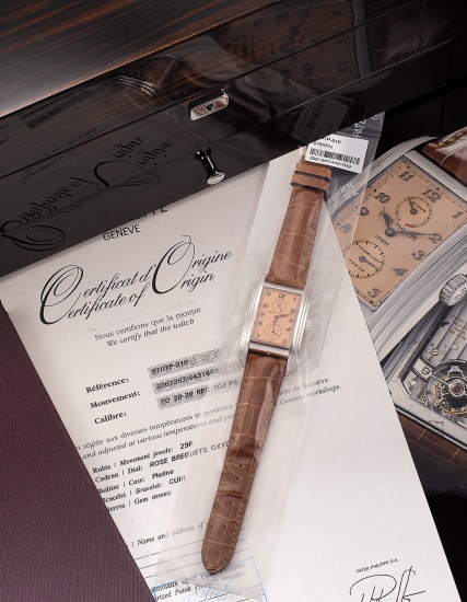 An extremely fine and rare platinum rectangular tourbillon chronometer wristwatch with 10-day power reserve, certificate of original and fitted presentation box