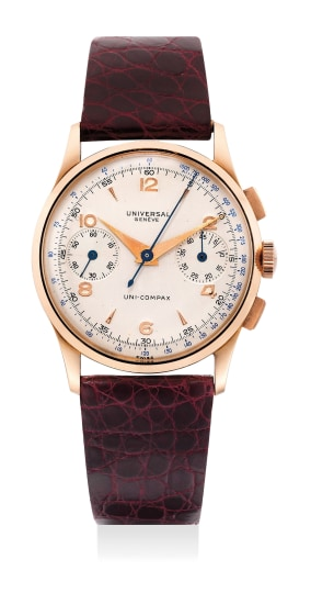 A fine and attractive pink gold chronograph wristwatch with fitted presentation box