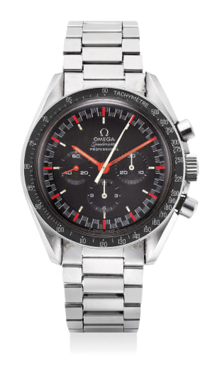 An extremely rare and attractive stainless steel chronograph wristwatch with racing dial, bracelet and guarantee