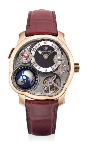 A superlative and unusual pink gold worldtime and dual-time wristwatch with power reserve indication, tourbillon regulator, warranty and box