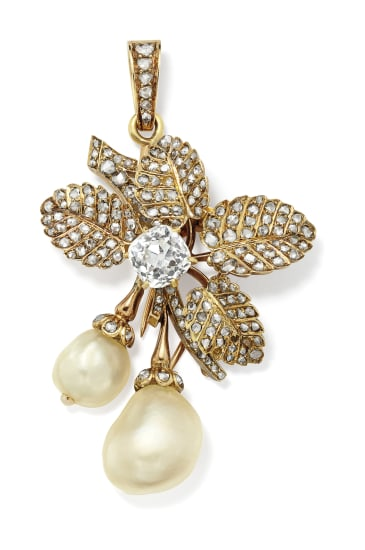 A Natural Pearl, Diamond and Gold Brooch/Pendant