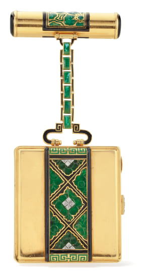 An Art Deco Jade, Diamond, Enamel and Gold Vanity