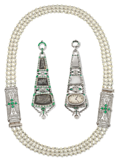 An Art Deco Diamond, Emerald, Rock Crystal and Platinum Watch Pendant and A Seed Pearl, Diamond, Emerald and Platinum Necklace