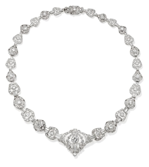An Art Deco Diamond and Platinum Necklace