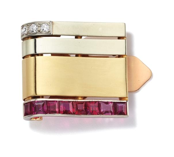 An Art Deco Ruby, Diamond, Platinum and Gold Clip