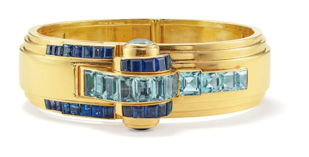 A Retro Sapphire, Aquamarine and Gold Watch Bracelet
